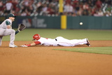 Apr 15, 2014, Oakland Athletics vs Los Angeles Angels - Mike Trout Photographic Print by Paul Spinelli