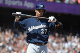 Aug 8, 2013, Milwaukee Brewers vs San Francisco Giants - Carlos Gomez Photographic Print by Thearon W. Henderson