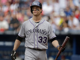 May 24, 2014, Colorado Rockies vs Atlanta Braves - Justin Morneau Photographic Print by Mike Zarrilli