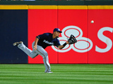Apr 14, 2012, Milwaukee Brewers vs Atlanta Braves - Carlos Gomez Photographic Print by Scott Cunningham
