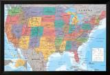 Landkarte der USA Kunstdruck
