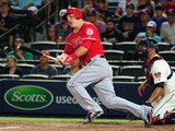 Jun 14, 2014, Los Angeles Angels of Anaheim vs Atlanta Braves - Mike Trout Photographic Print by Scott Cunningham