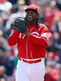 Apr 16, 2014, Pittsburgh Pirates vs Cincinnati Reds - Johnny Cueto Photographic Print by Andy Lyons