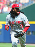 Apr 27, 2014, Cincinnati Reds vs Atlanta Braves - Johnny Cueto Photographic Print by Scott Cunningham