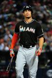 Aug 9, 2013, Miami Marlins vs Atlanta Braves - Giancarlo Stanton Fotografisk tryk af Scott Cunningham