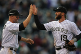 Apr 4, 2014, Arizona Diamondbacks vs Colorado Rockies - Charlie Blackmon, Michael Cuddyer Photographic Print by Doug Pensinger