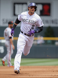 Apr 23, 2014, San Francisco Giants vs Colorado Rockies - Troy Tulowitzki Photographic Print by Doug Pensinger