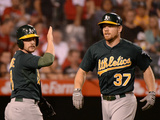 Sep 23, 2013, Oakland Athletics vs Los Angeles Angels of Anaheim - Brandon Moss, Jed Lowrie Photographic Print by Harry How
