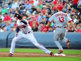 May 7, 2014, St. Louis Cardinals vs Atlanta Braves - Matt Carpenter, Freddie Freeman Photographic Print by Scott Cunningham