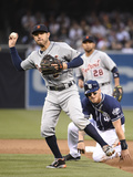 Apr 12, 2014, Detroit Tigers vs San Diego Padres - Ian Kinsler, Yasmani Grandal Photographic Print by Denis Poroy