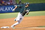 Apr 28, 2014, Oakland Athletics vs Texas Rangers - Coco Crisp Photographic Print by Rick Yeatts