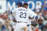 Mar 23, 2014, Los Angeles Dodgers vs Arizona Diamondbacks - Juan Uribe, Adrian Gonzalez Photographic Print by Mark Metcalfe