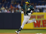 Jun 4, 2014, Oakland Athletics vs New York Yankees - Yoenis Cespedes Photographic Print by Rich Schultz