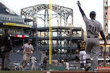 Apr 17, 2014, Milwaukee Brewers vs Pittsburgh Pirates - Carlos Gomez, Jonathan Lucroy Photographic Print by Justin K. Aller