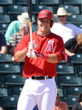 Mar 7, 2014, Chicago Cubs vs Los Angeles Angels of Anaheim - Mike Trout Photographic Print by Norm Hall