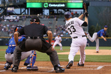 May 2, 2014, New York Mets vs Colorado Rockies - Justin Morneau, Zack Wheeler Photographic Print by Doug Pensinger
