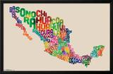 Mexico Map - Text Posters