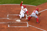 Apr 7, 2014, Cincinnati Reds vs St. Louis Cardinals - Matt Holliday, Brayan Pena Photographic Print by Dilip Vishwanat