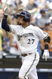 Jul 25, 2013, San Diego Padres vs Milwaukee Brewers - Carlos Gomez Photographic Print by Mike McGinnis
