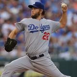 Jun 24, 2014, Los Angeles Dodgers vs Kansas City Royals - Clayton Kershaw Photographic Print by Ed Zurga