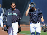 Mar 9, 2014, Texas Rangers vs Seattle Mariners - Felix Hernandez, Mike Zunino Photographic Print by Christian Petersen