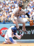 Apr 27, 2014, Colorado Rockies vs Los Angeles Dodgers - Troy Tulowitzki, Yasiel Puig Photographic Print by Stephen Dunn