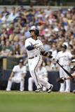 Jun 22, 2013, Atlanta Braves vs Milwaukee Brewers - Carlos Gomez Photographic Print by Mike McGinnis