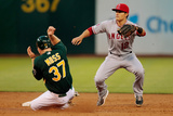 Jul 26, 2013, Los Angeles Angels of Anaheim vs Oakland Athletics - Brandon Moss, Tommy Field Photographic Print by Brian Bahr