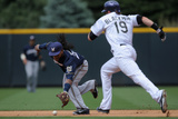 Jun 21, 2014, Milwaukee Brewers vs Colorado Rockies - Rickie Weeks, Charlie Blackmon Photographic Print by Doug Pensinger