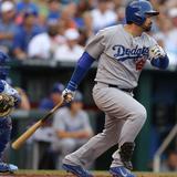 Jun 24, 2014, Los Angeles Dodgers vs Kansas City Royals - Adrian Gonzalez Photographic Print by Ed Zurga