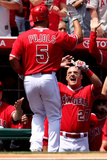 Apr 13, 2014, New York Mets vs Los Angeles Angels of Anaheim - Albert Pujols, Mike Trout Photographic Print by Stephen Dunn