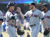 Jul 2, 2014, Cleveland Indians vs Los Angeles Dodgers - Cody Allen, Yan Gomes Photographic Print by Stephen Dunn