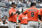 May 10, 2014, Miami Marlins vs San Diego Padres - Casey McGehee, Jarrod Saltalamacchia Photographic Print by Denis Poroy