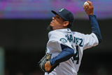 Jun 29, 2014, Cleveland Indians vs Seattle Mariners - Felix Hernandez Photographic Print by Otto Greule Jr