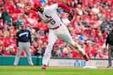 Apr 30, 2014, Milwaukee Brewers vs St. Louis Cardinals - Matt Carpenter, Elian Herrera Photographic Print by Jeff Curry