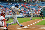 May 23, 2014, Los Angeles Dodgers vs Philadelphia Phillies - Yasiel Puig Photographic Print by Drew Hallowell