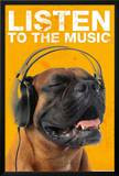 Listen to the Music Dog Art Print Poster Poster