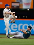 Jun 25, 2014, Oakland Athletics vs New York Mets - Daniel Murphy, John Jaso Photographic Print by Mike Stobe