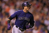 May 5, 2014, Texas Rangers vs Colorado Rockies - Troy Tulowitzki Photographic Print by Doug Pensinger