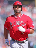 Apr 19, 2014, Los Angeles Angels of Anaheim vs Detroit Tigers - Albert Pujols, Joe Nathan Fotografisk tryk af Leon Halip