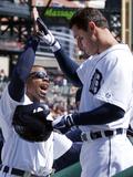 Apr 17, 2014, Cleveland Indians vs Detroit Tigers - Ian Kinsler, Rajai Davis Photographic Print by Duane Burleson