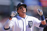 Apr 19, 2014, Los Angeles Angels of Anaheim vs Detroit Tigers - Victor Martinez Photographic Print by Leon Halip