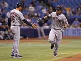 May 9, 2014, Cleveland Indians vs Tampa Bay Rays - Michael Brantley, Mike Sarbaugh Photographic Print by Brian Blanco