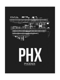 PHX Phoenix Airport Black Print by  NaxArt