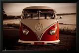 VW Red Combi Poster