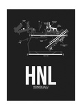 HNL Honolulu Airport Black Print by  NaxArt