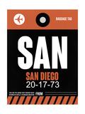 SAN San Diego Luggage Tag 3 Prints by  NaxArt