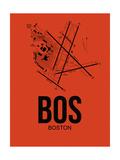 BOS Boston Airport Orange Prints by  NaxArt