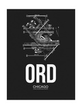 ORD Chicago Airport Black Poster by  NaxArt