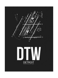 DTW Detroit Airport Black Posters by  NaxArt